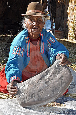 Old working woman from Peru Editorial Stock Photo