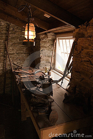 Old workshop with tools