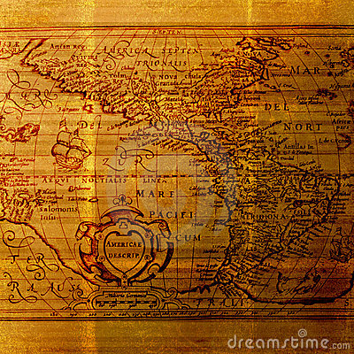 Old World Cartography Map - Grungy background