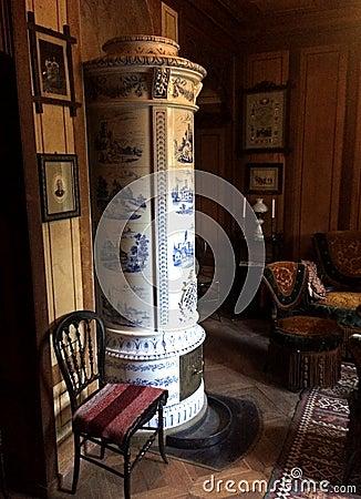 Free Old World Ceramic Tile Wood Furnace Stock Images - 70955524