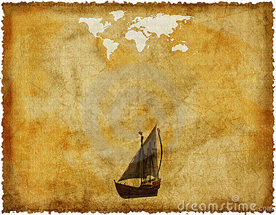 Old world map on grunge paper