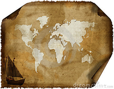 Old world map on grunge retro paper