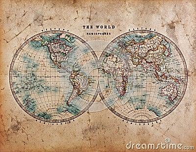 Old World Map in Hemispheres Stock Photo