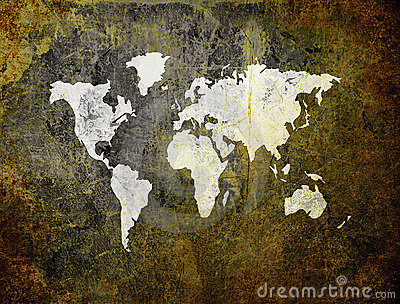 Old world map on retro paper