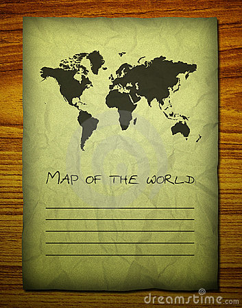 Old world map on wooden