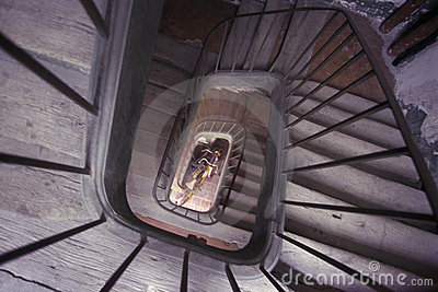 Old world spiral wood staircase