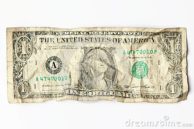 Old worn one dollar bill