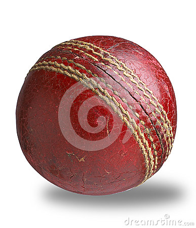Old worn used cricket ball path