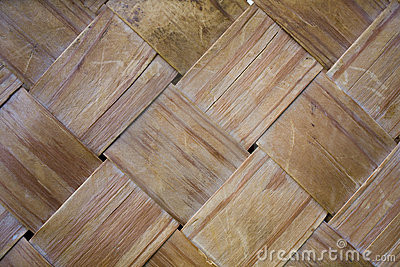 Old and worn woven wood strips