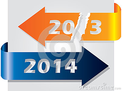 Old year vs new year illustrated with arrows