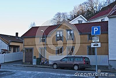 Old yellow house in Halden.