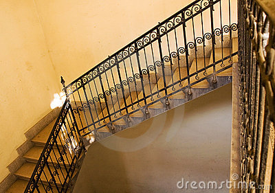 Old yellow staircase