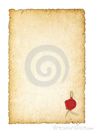 Free Old Yellowed Paper With A Wax Seal Royalty Free Stock Photo - 61126765