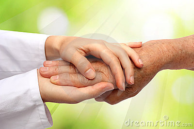 Old and young hand, nurse doctor