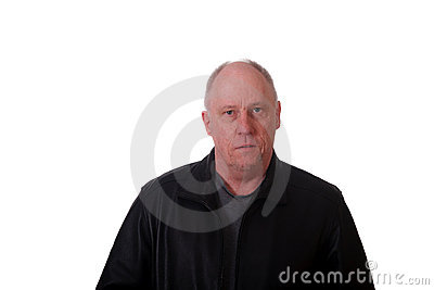 Older Balding Man in Black Jacket Serious