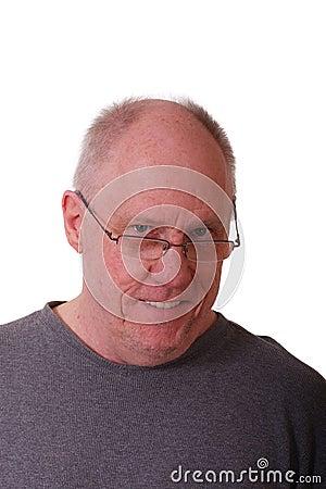 Older Balding Man in Gray Shirt
