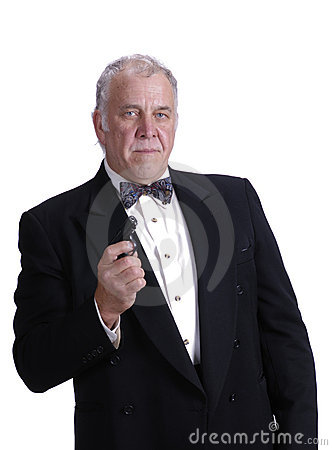 Older businessman impersonating James Bond