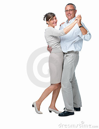 Older couple dancing on white background