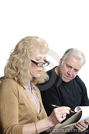 Older couple going over expenses
