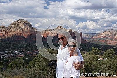 Older couple sightseeing