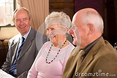 Older friends in restaurant