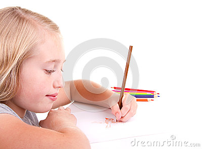 Older girl or teen drawing a bird