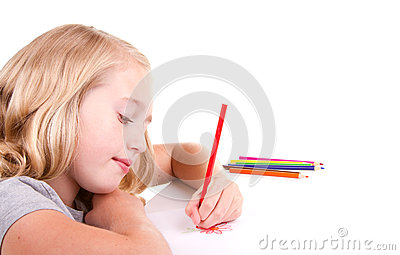 Older girl or teen drawing a flower