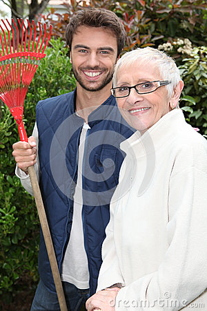Older lady and gardener