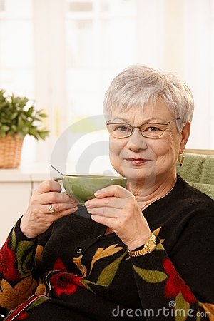 Older lady with tea cup