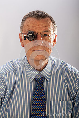 Man with Magnifying Glasses