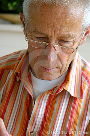 Older man concentrated