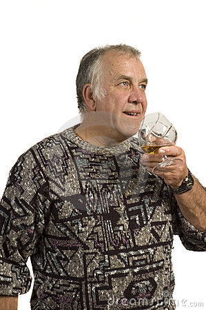 Older man drinking scotch