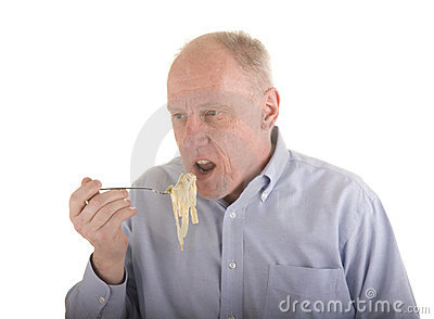 Older Man Eating Pasta