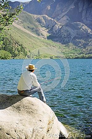 Free Older Man Fishing At Lake Royalty Free Stock Photo - 7458375