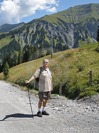 A older man  Hiking
