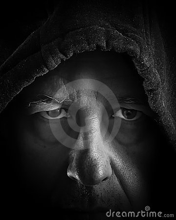 Free Older Man Looking Out From The Sadows Royalty Free Stock Photos - 12833368