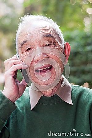 Older man talking phone