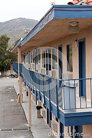 Older motel walkway