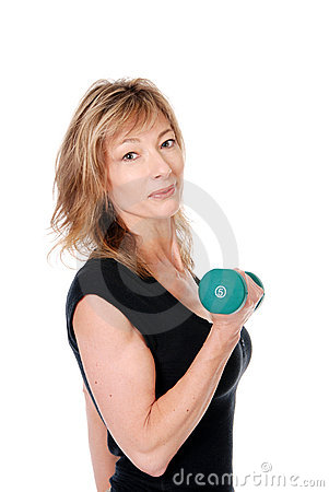 Older woman holding a dumbbell