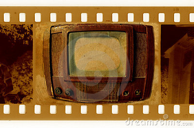Oldies 35mm frame photo with vintage TV