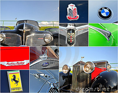 Oldtimer car  rally collage Editorial Photo