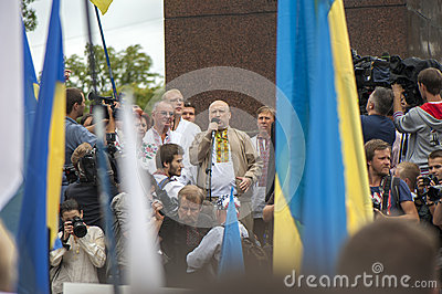 Oleksandr Turchynov, spoke at a rally of the opposition Editorial Stock Image