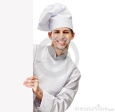 Olhando para fora o cozinheiro