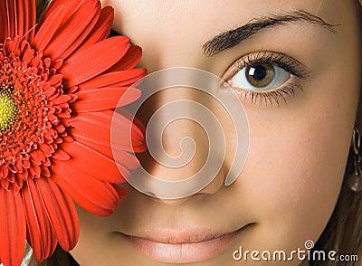 Olhos e flor da mulher