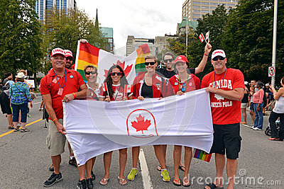 Olimpionici canadesi a gay pride in Ottawa Immagine Editoriale