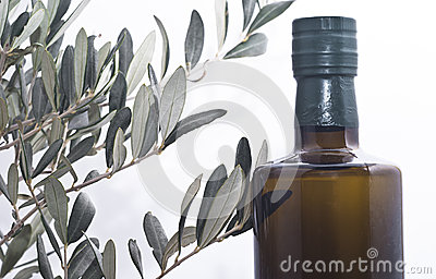 Olive branch and a bottle of olive oil