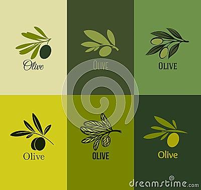 Olive branch. Set of labels. Vector illustration