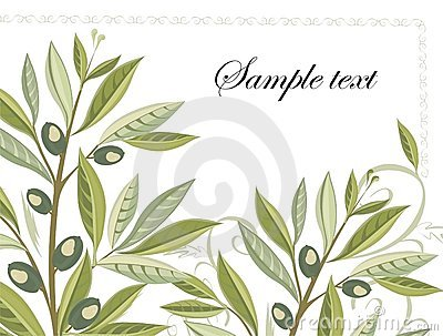 Olive branches in grunge style - easy to modify