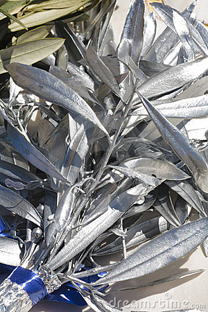 Olive branches painted silver