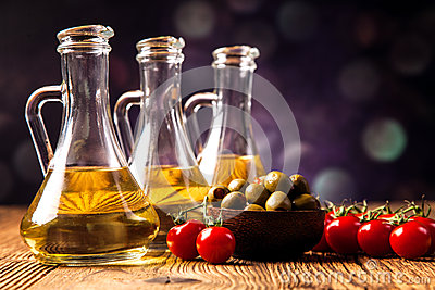 Olive oil in bottles